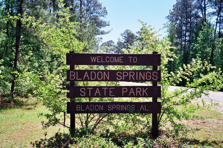 Welcome To Bladon Springs State Park Sign Black Belt 100 Lenses